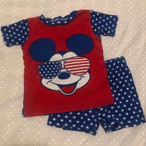 Disney Junior Mickey 4th of July shorts pajama set